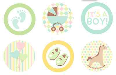Baby Shower Welcome {boy Blue} Edible Cupcake Toppers Decoration