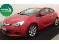 £159.40 PER MONTH - RED VAUXHALL ASTRA GTC 1.4 T 16V 120SPORT COUPE