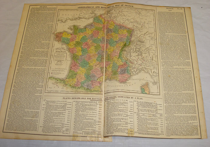 1820 GEOGRAPHICAL and HISTORICAL MAP of FRANCE/Hand Colored//a