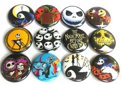 12 Nightmare Before Christmas Buttons Pinbacks Set 1