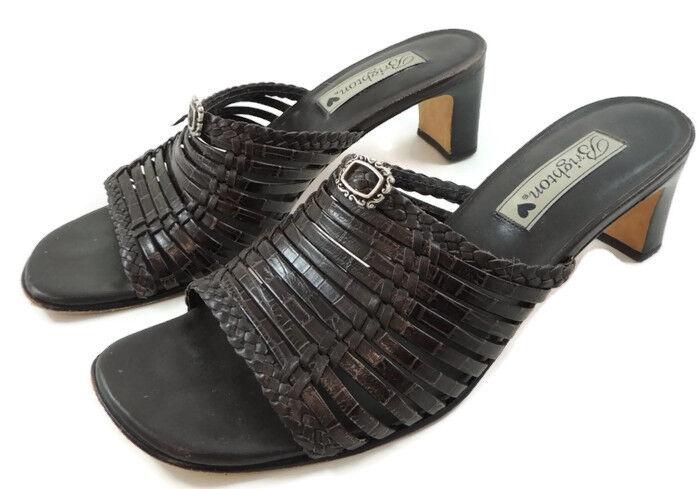 Brighton Freddi Brown Leather Strappy Mule Sandals 8 M