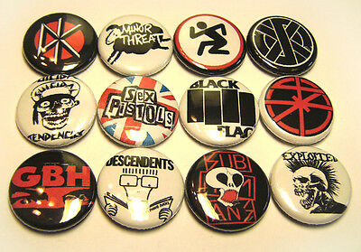 """12 1980s Punk Rock Bands ONE Inch Buttons Exploited GBH DRI DK Crass + 1"""" Badges"""