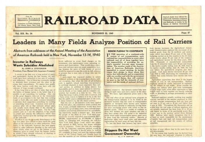 [36969R] NOVEMBER 22, 1940 RAILROAD DATA NEWSPAPER