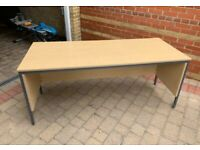 Office desk/table w/modesty panel, grey frame & maple wood tabletop