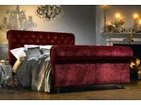 Chesterfield Sleigh Crushed Velvet Bedsteads