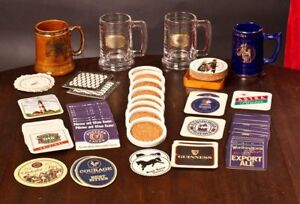110 + piece vintage drink coaster and stein collection