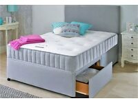 Divan Fabric Bed with Orthopaedic Sprung Mattress Leather Option available