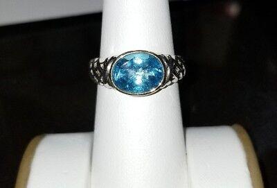 Alwand Vahan oval Bezel Swiss Blue Topaz 10k Yellow gold & sterling silver ring