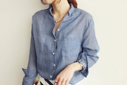 Women's Summer Loose Long Sleeve Casual Cotton Shirt Tops ...