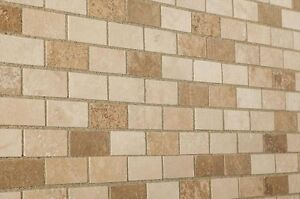 Sample of Tumbled Mixed Travertine Brick Mosaic Tiles 48 x 100 mm (2