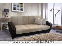 Arabian 3 Seater Fabric Sofa Bed with Storage underneath, Wooden Arm Sofabed settee