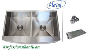 36-Stainless-Steel-CURVE-Front-Farm-Apron-Double-Kitchen-sink-Zero-Radius-Ariel