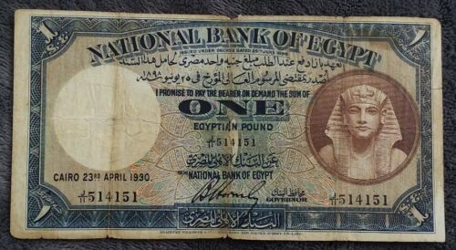 Rare 1930 EGYPT Pound P-22a HORNSBY Antique Old Egyptian Money World Note