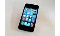 BLACK APPLE iPHONE 4 WITH 16 GB MEMORY, CHARGER AND CASE -ROGERS