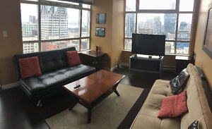 FURNISHED:DOWNTOWN;CORNER UNIT;UNOBSTRUCTED VIEWS:GYM/POOL/SPA