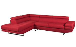 Red 2-Piece Linen-Look Fabric Left-Facing Sectional - Like New