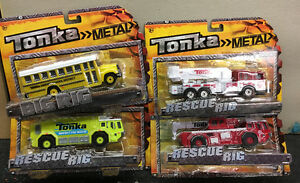 4 Tonka Trucks diecast Metal School Bus, Firetruck, Ladder Truck