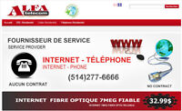 Internet Haute vitesse, High speed 32.99$, VOIPphone 8.99$,