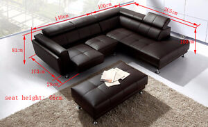 Modern Small Leather Sectional with Ottoman - Not Bonded leather