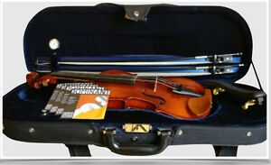 Like NEW 3/4 size violin + bows, strings, case, chin rest