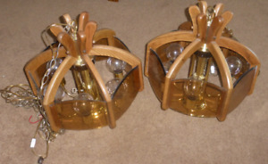 Pair of Solid Oak Hanging Lights...PRICE IS FOR BOTH  $150.00