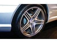 "New 4x 18"" MERCEDES SL63 AMG TRIPPLE SPOKE STYLE ALLOY WHEELS STAGGERED FITMENT 5x112"