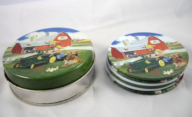 6 John Deere Coasters with Tin Donald Zolan Children Farm Vintage Advertising