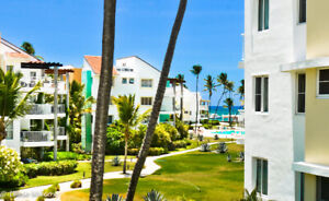 Luxury condo with ocean and pool view from balcony, Punta Cana,