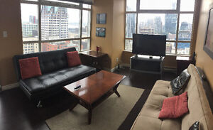 FURNISHED:DOWNTOWN;CORNER UNIT;UNOBSTRUCTED VIEWS:GYM/POOL/SPA/S