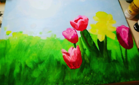 Tulips and daffodils painting on canvas