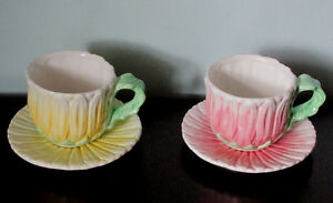 Flowered Porcelain Tea Cups with Saucers
