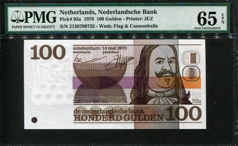 Netherlands 1970, 100 Gulden, P93a, PMG 65 EPQ GEM UNC