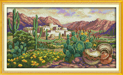 Desert Scene Kit (Joy Sunday Counted Cross Stitch Kit 14CT A Desert Scene 15 x 9in Embroidery Kit )