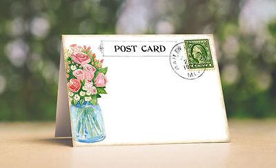 FLOWERS IN MASON JAR POSTCARD TENT STYLE WEDDING PLACE CARDS or TABLE CARDS #155](Flowers In Mason Jars)