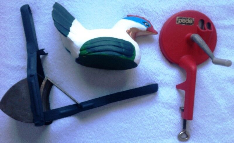 Vintage grater, potato masher and painted wooden hen