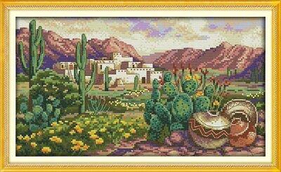 Desert Scene Kit (A PRICKLY DESERT SCENE cross stitch kit 14 ct size 37 x 21 cm BNIP JOY SUNDAY )
