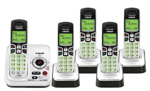 VTECH SET OF FOUR CORDLESS PHONES / ANSWERING MACHINE