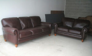 "ALMOST NEW ""NATUZZI"" BUFFALO LEATHER SOFA SET, CAN DELIVER"