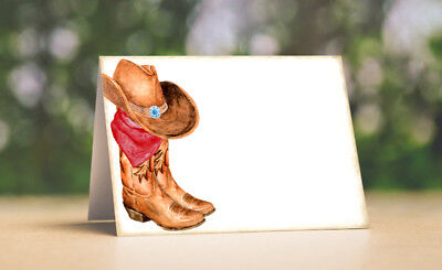 RUSTIC WESTERN COWBOY BOOTS TENT STYLE WEDDING PLACE CARDS or TABLE CARDS #447