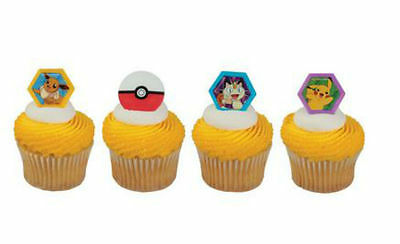 Pokemon cupcake rings (24) party favor cake topper 2 dozen - Pokemon Cupcake Rings