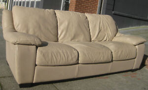 Off white genuine leather 3 seater couch