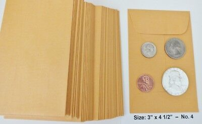 100 New Small 3 X 4 12 Kraft Coin Envelopes 4 -7.6x11.4cm Coins Not Included