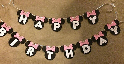 Minnie Mouse hand made Happy Birthday banner.Can be personalized.Polka Dot Bows](Minnie Mouse Personalized Banner)