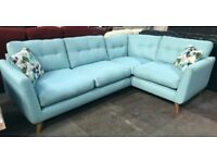 Blue fabric corner sofa
