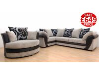 BRAND NEW LUSH CORNER AND CUDDLE CHAIR SOFA SET - FAST 7 DAY DELIVERY