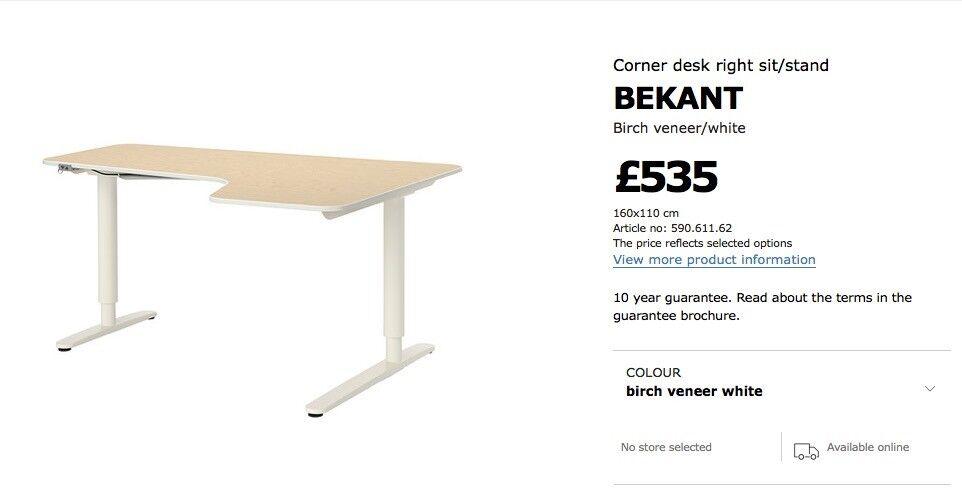 Ikea Bekant Corner Desk Sit/Stand
