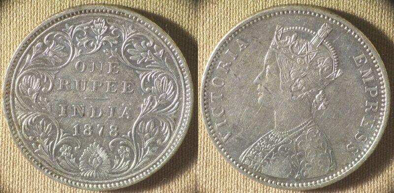 India : British 1878(b) 1 Rupee Type A Bust,Type II Rev CH.AU-UNC #492  IR8316
