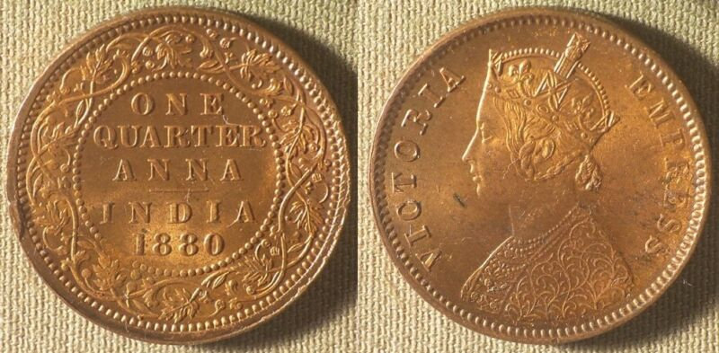 India : British 1880(c) 1/4 Anna CH.UNC Minor Spotting Almost BU #486  IR8317