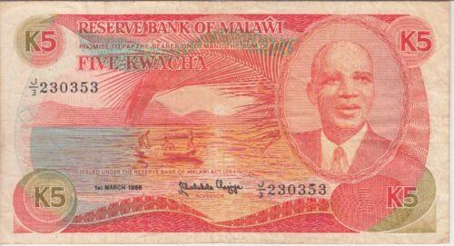 MALAWI BANKNOTE 20a-0353, 5 KWACHA 1.3.1986, F