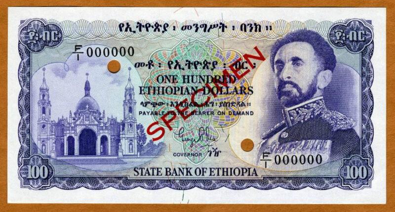 SPECIMEN, Ethiopia, 100 Dollars, ND (1961), P-23s, Gem UNC